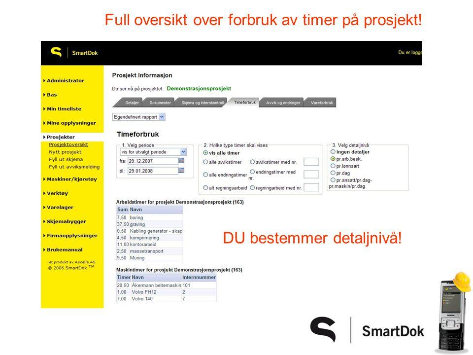 Full oversikt over forbruk av timer på prosjekt!