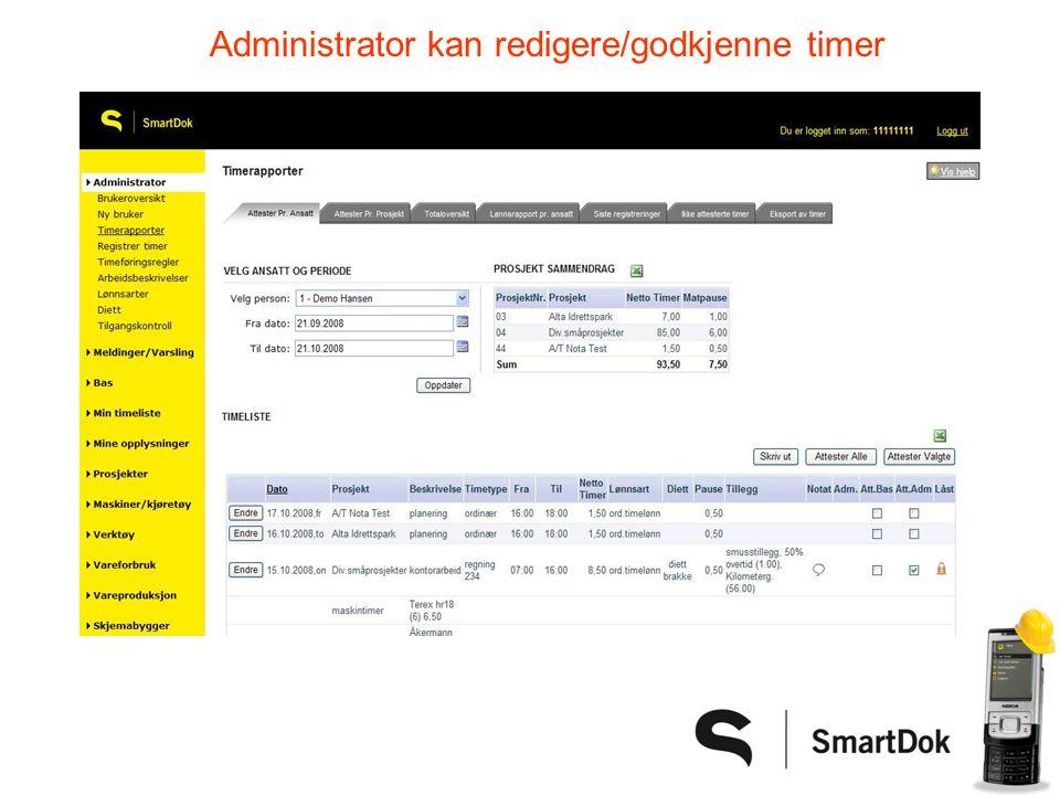Administrator kan redigere/godkjenne timer