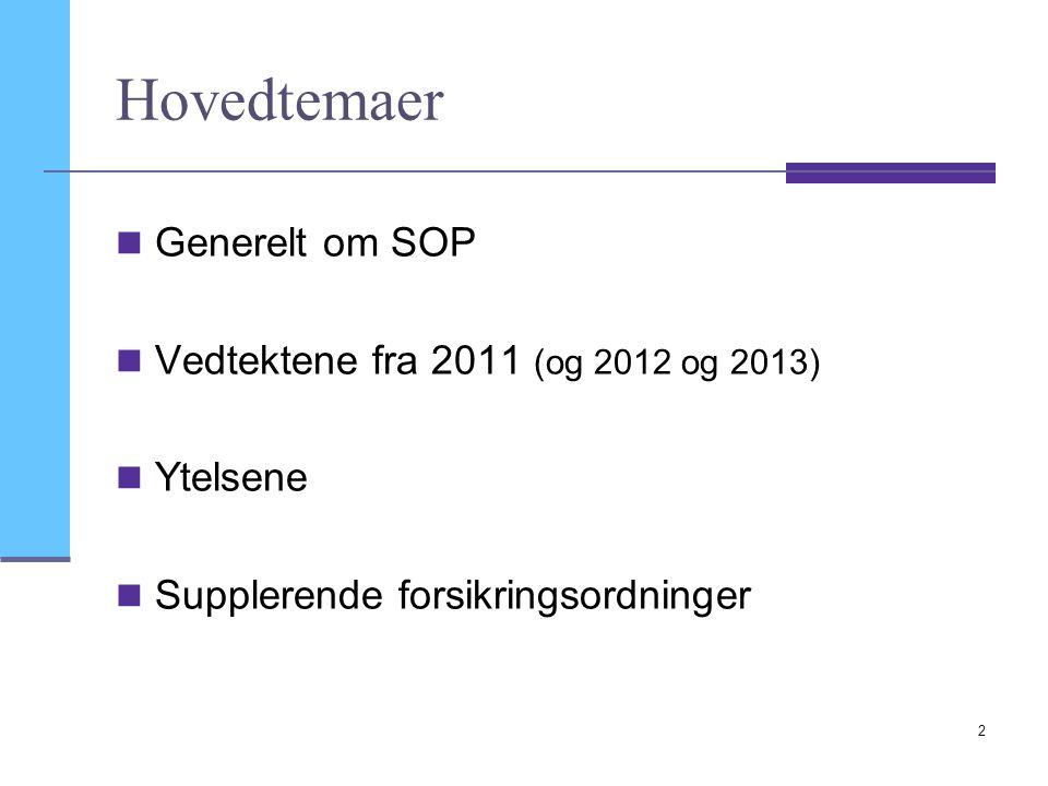Hovedtemaer Generelt om SOP Vedtektene fra 2011 (og 2012 og 2013)