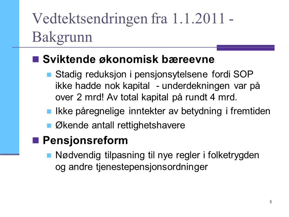Vedtektsendringen fra 1.1.2011 - Bakgrunn