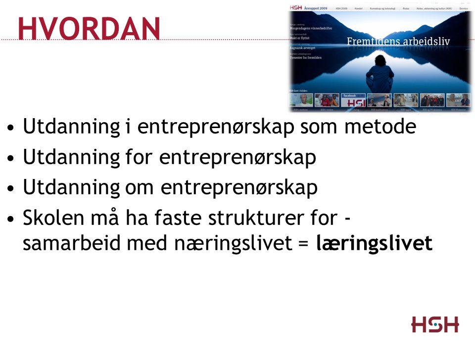 HVORDAN Utdanning i entreprenørskap som metode