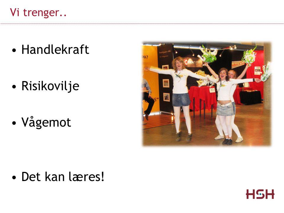 Handlekraft Risikovilje Vågemot Det kan læres! Vi trenger..