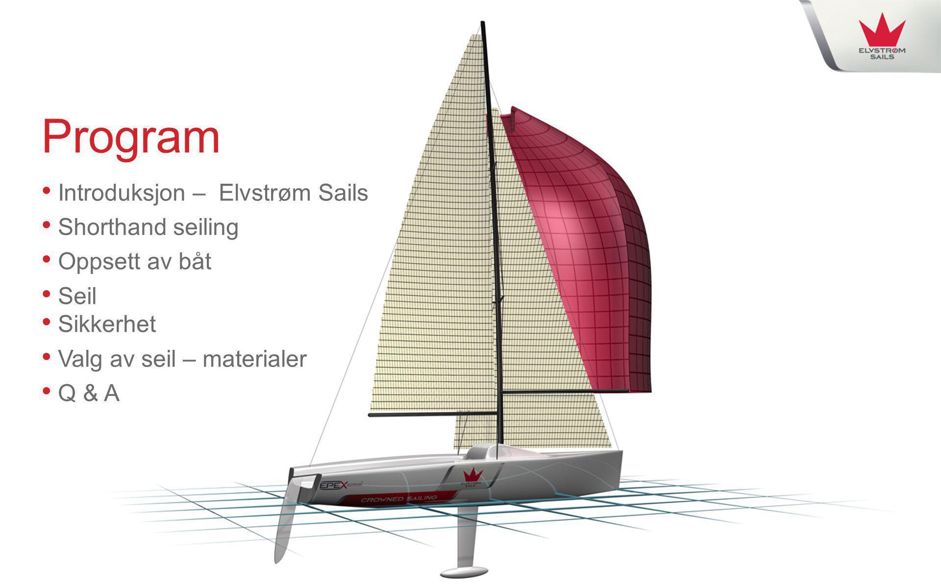 Program Introduksjon – Elvstrøm Sails Shorthand seiling Oppsett av båt