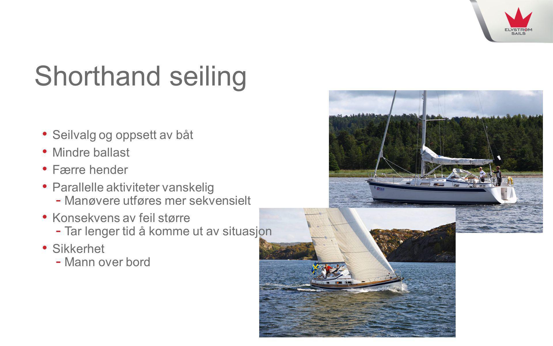 Shorthand seiling Seilvalg og oppsett av båt Mindre ballast