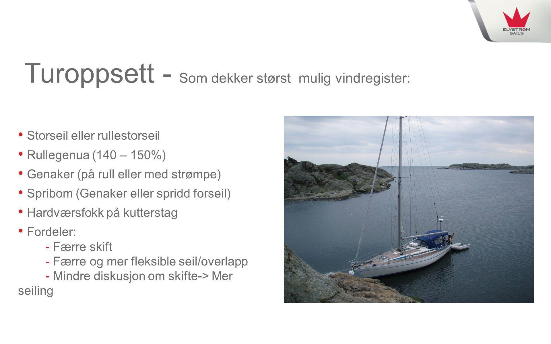 Turoppsett - Som dekker størst mulig vindregister: