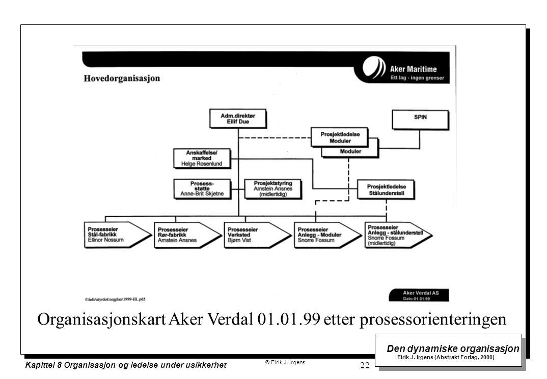 Organisasjonskart Aker Verdal 01.01.99 etter prosessorienteringen