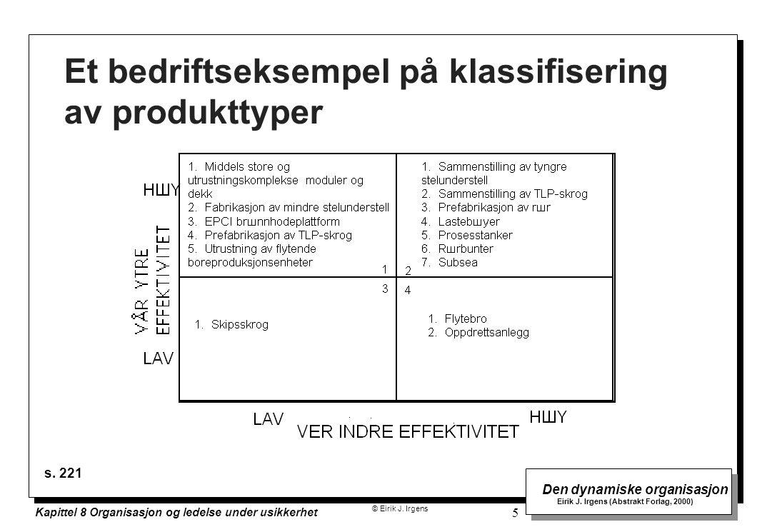 Et bedriftseksempel på klassifisering av produkttyper