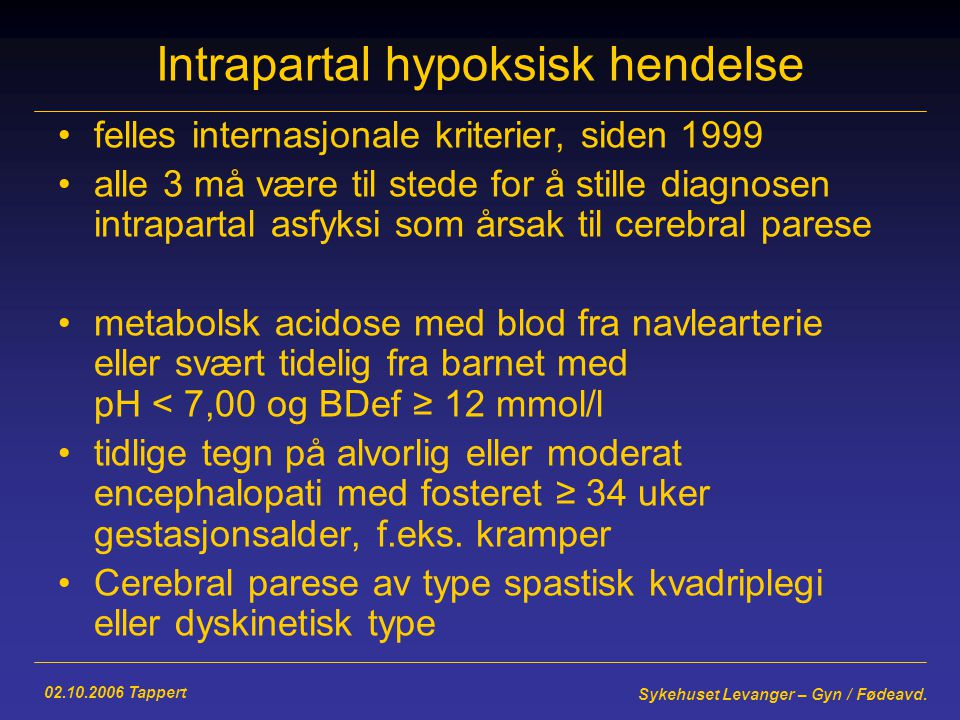 Intrapartal hypoksisk hendelse