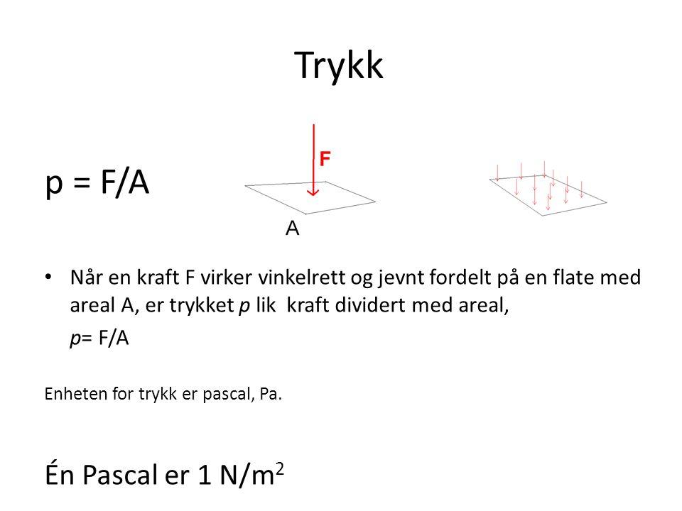 Trykk p = F/A Én Pascal er 1 N/m2