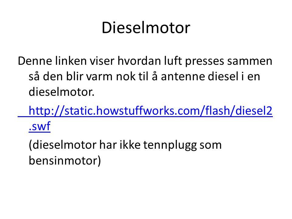 Dieselmotor Denne linken viser hvordan luft presses sammen så den blir varm nok til å antenne diesel i en dieselmotor.