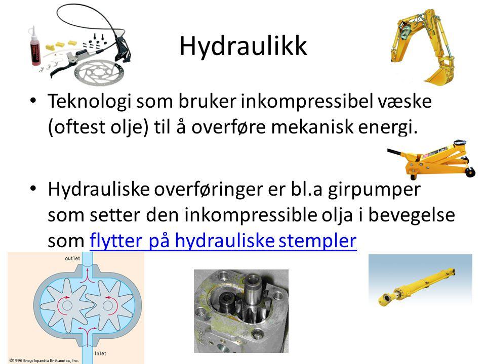 Hydraulikk Teknologi som bruker inkompressibel væske (oftest olje) til å overføre mekanisk energi.