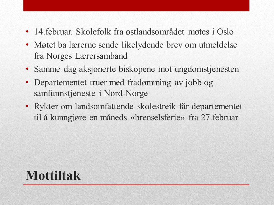Mottiltak 14.februar. Skolefolk fra østlandsområdet møtes i Oslo