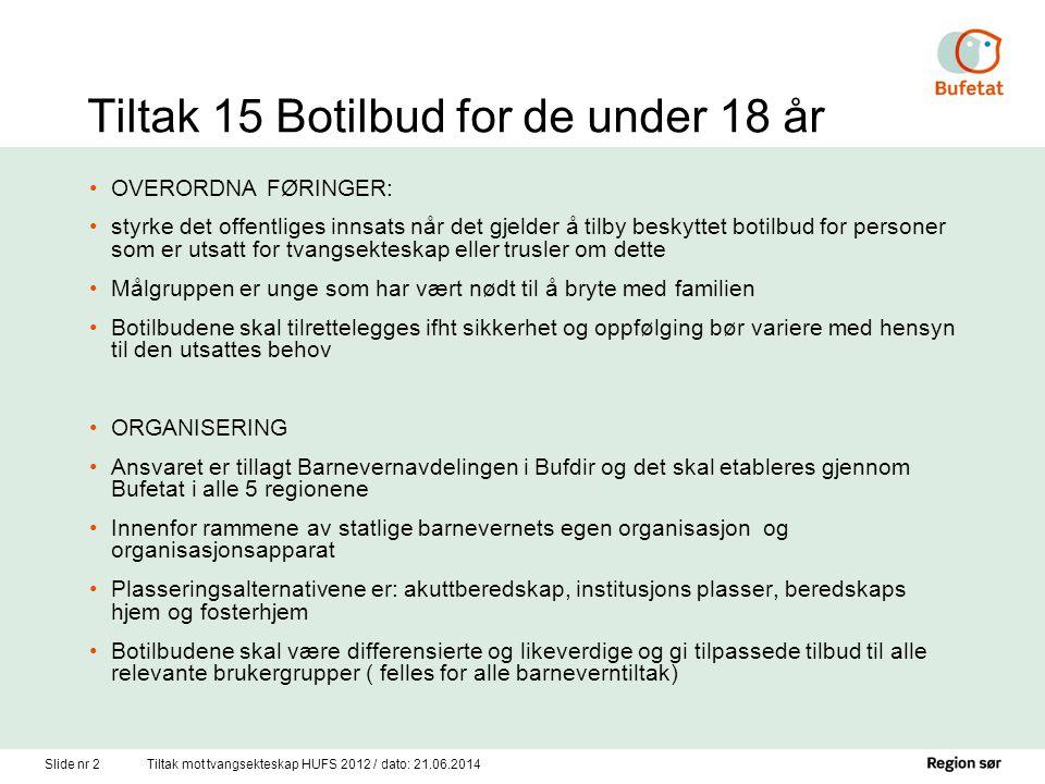 Tiltak 15 Botilbud for de under 18 år