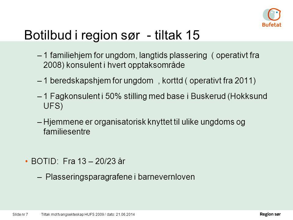 Botilbud i region sør - tiltak 15