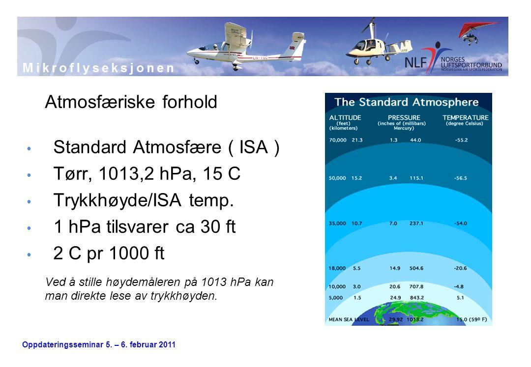 Atmosfæriske forhold Standard Atmosfære ( ISA ) Tørr, 1013,2 hPa, 15 C. Trykkhøyde/ISA temp. 1 hPa tilsvarer ca 30 ft.