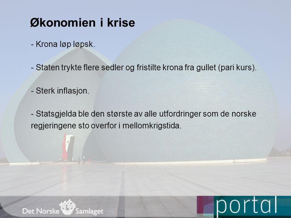 Økonomien i krise - Krona løp løpsk.