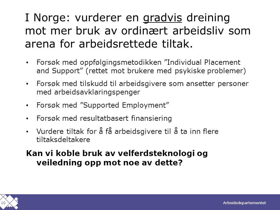 I Norge: vurderer en gradvis dreining mot mer bruk av ordinært arbeidsliv som arena for arbeidsrettede tiltak.