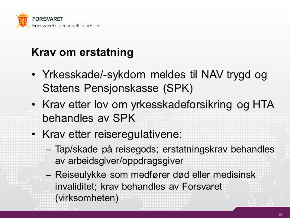 Yrkesskade/-sykdom meldes til NAV trygd og Statens Pensjonskasse (SPK)