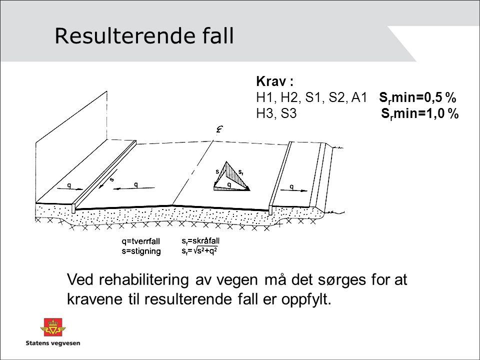 Resulterende fall Krav : H1, H2, S1, S2, A1 Srmin=0,5 % H3, S3 Srmin=1,0 %