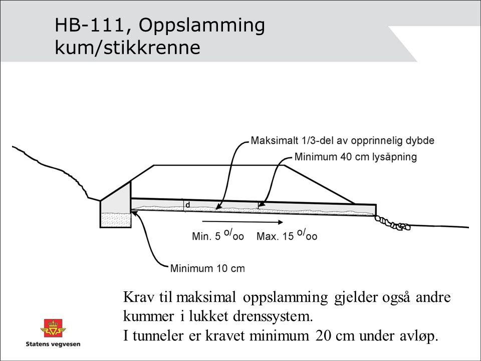 HB-111, Oppslamming kum/stikkrenne
