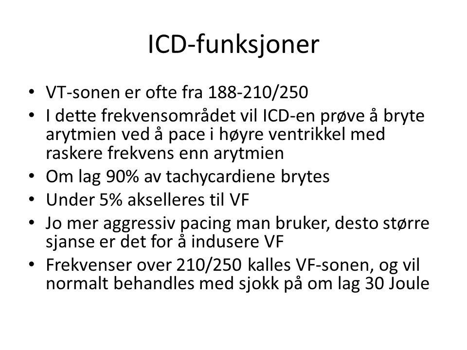 ICD-funksjoner VT-sonen er ofte fra 188-210/250