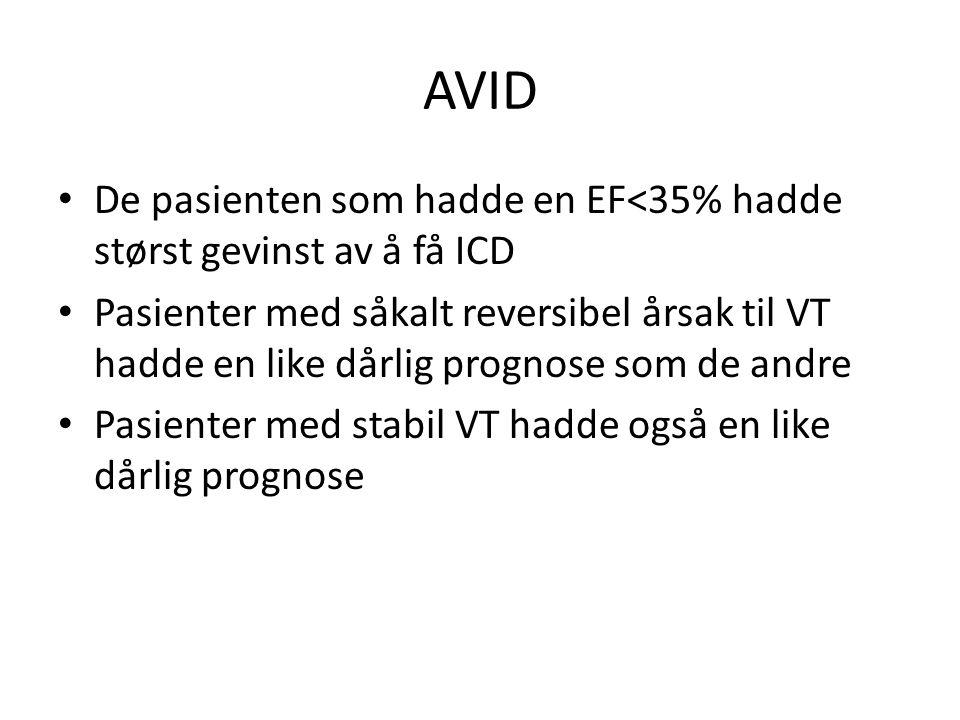 AVID De pasienten som hadde en EF<35% hadde størst gevinst av å få ICD.