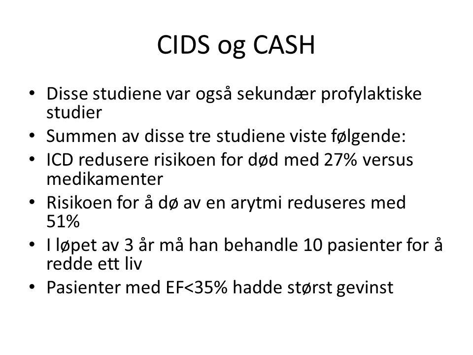 CIDS og CASH Disse studiene var også sekundær profylaktiske studier