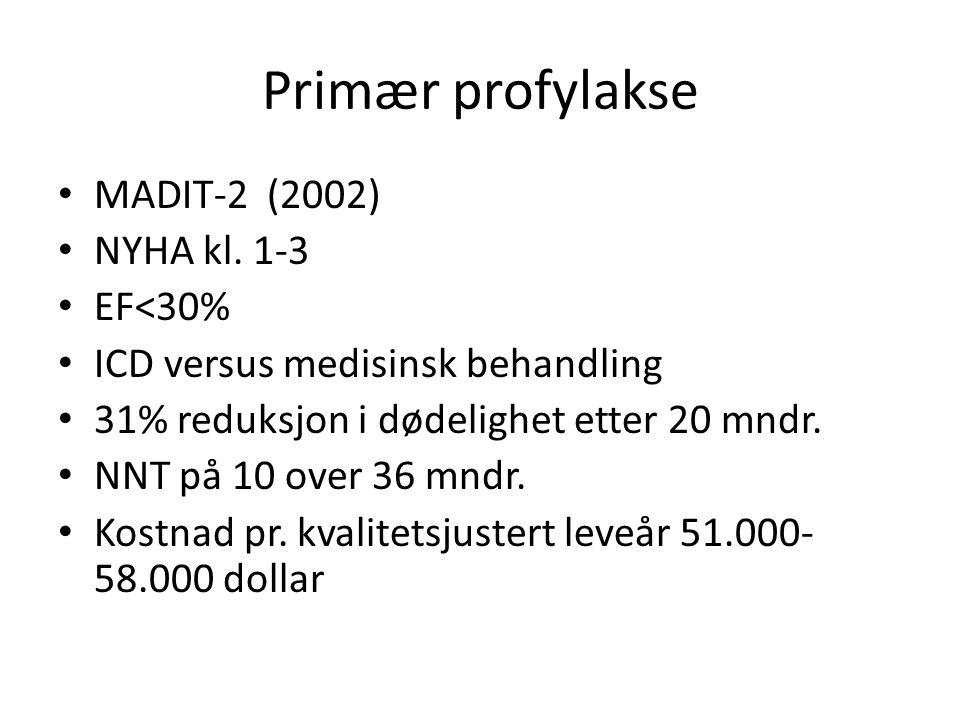 Primær profylakse MADIT-2 (2002) NYHA kl. 1-3 EF<30%
