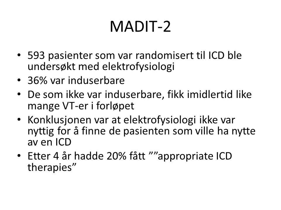 MADIT-2 593 pasienter som var randomisert til ICD ble undersøkt med elektrofysiologi. 36% var induserbare.