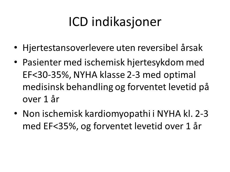 ICD indikasjoner Hjertestansoverlevere uten reversibel årsak