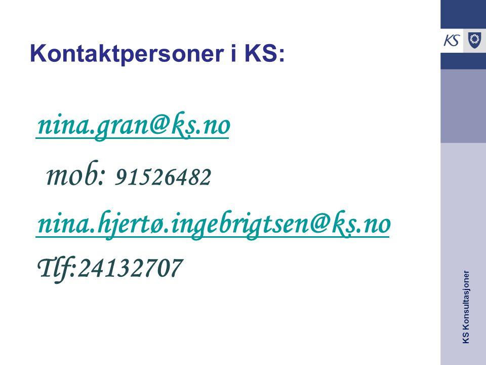 mob: 91526482 nina.gran@ks.no nina.hjertø.ingebrigtsen@ks.no