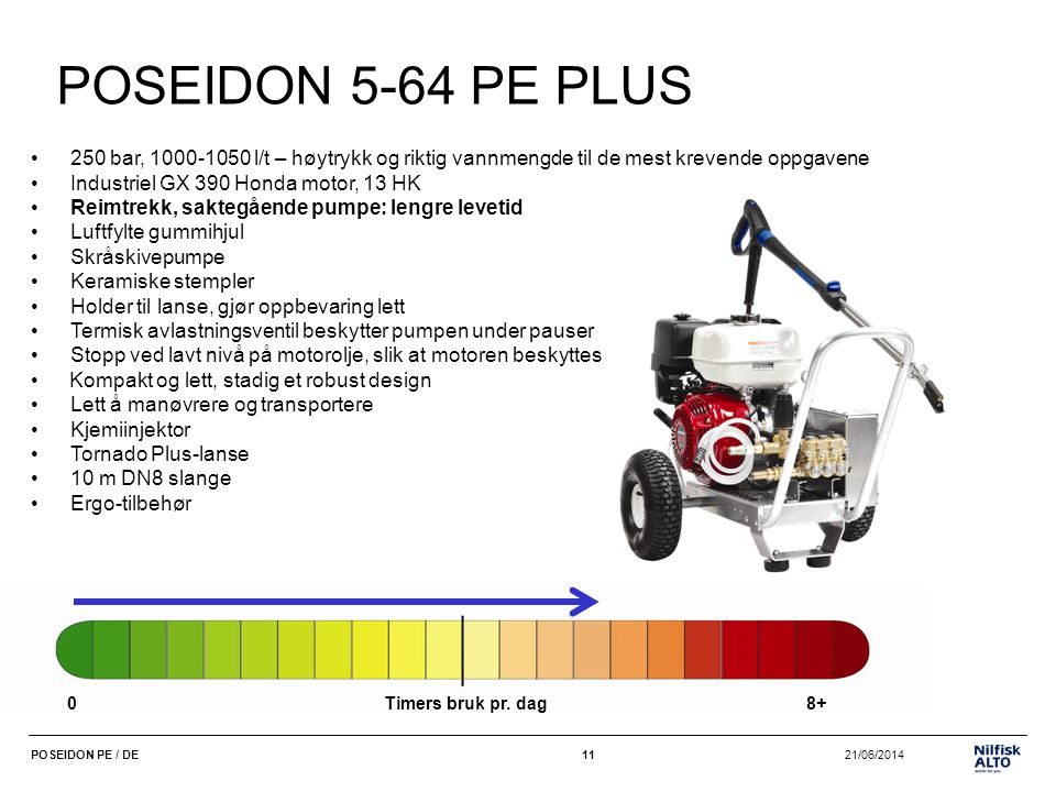 POSEIDON 5-64 PE PLUS 250 bar, 1000-1050 l/t – høytrykk og riktig vannmengde til de mest krevende oppgavene.