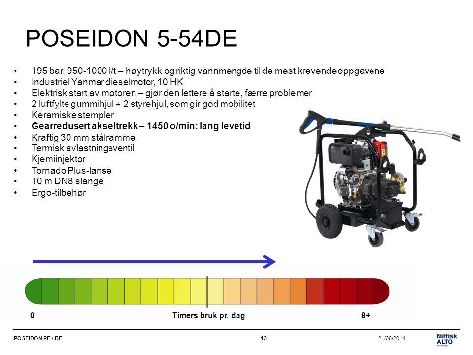 POSEIDON 5-54DE 195 bar, 950-1000 l/t – høytrykk og riktig vannmengde til de mest krevende oppgavene.