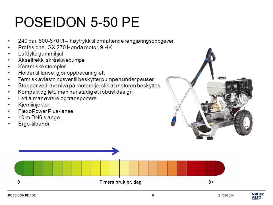 POSEIDON 5-50 PE 240 bar, 800-870 l/t – høytrykk til omfattende rengjøringsoppgaver. Profesjonell GX 270 Honda motor, 9 HK.