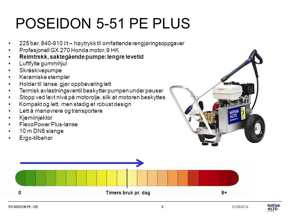POSEIDON 5-51 PE PLUS 225 bar, 840-910 l/t – høytrykk til omfattende rengjøringsoppgaver. Profesjonell GX 270 Honda motor, 9 HK.