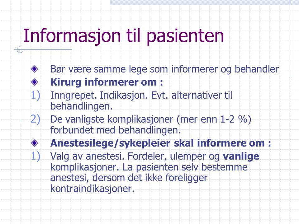 Informasjon til pasienten