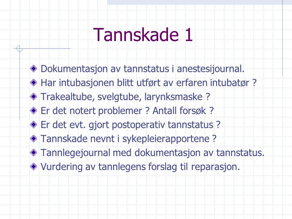 Tannskade 1 Dokumentasjon av tannstatus i anestesijournal.