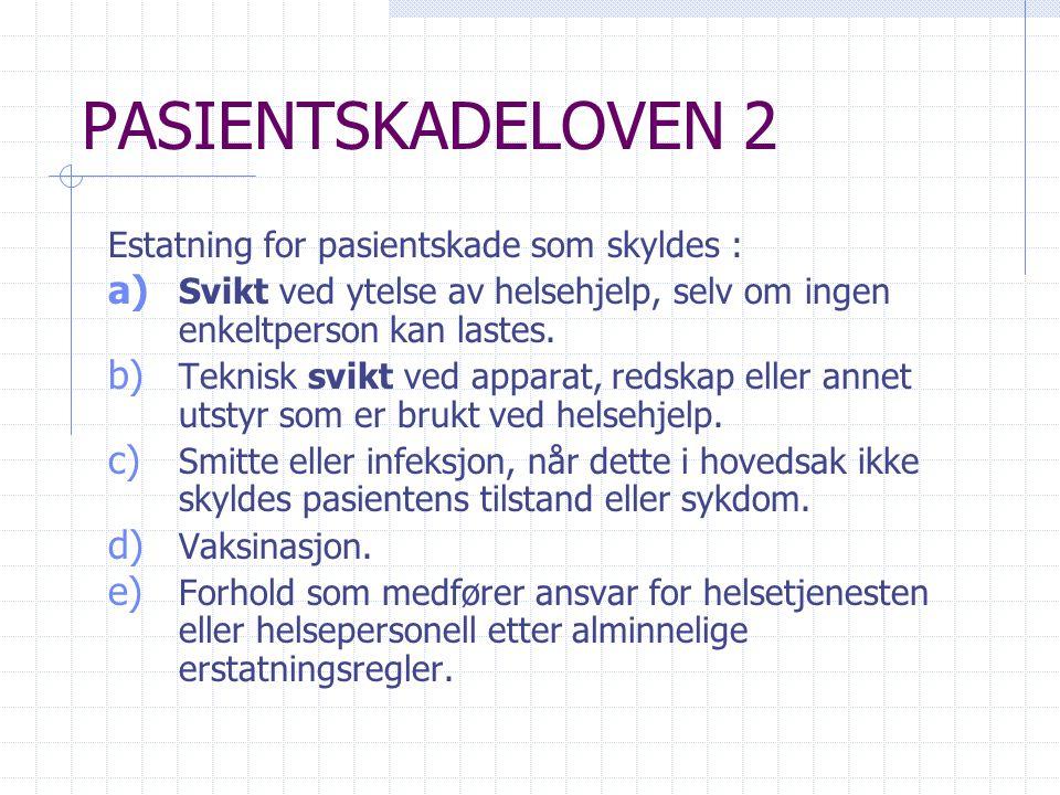 PASIENTSKADELOVEN 2 Estatning for pasientskade som skyldes :