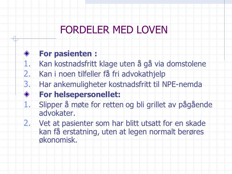 FORDELER MED LOVEN For pasienten :
