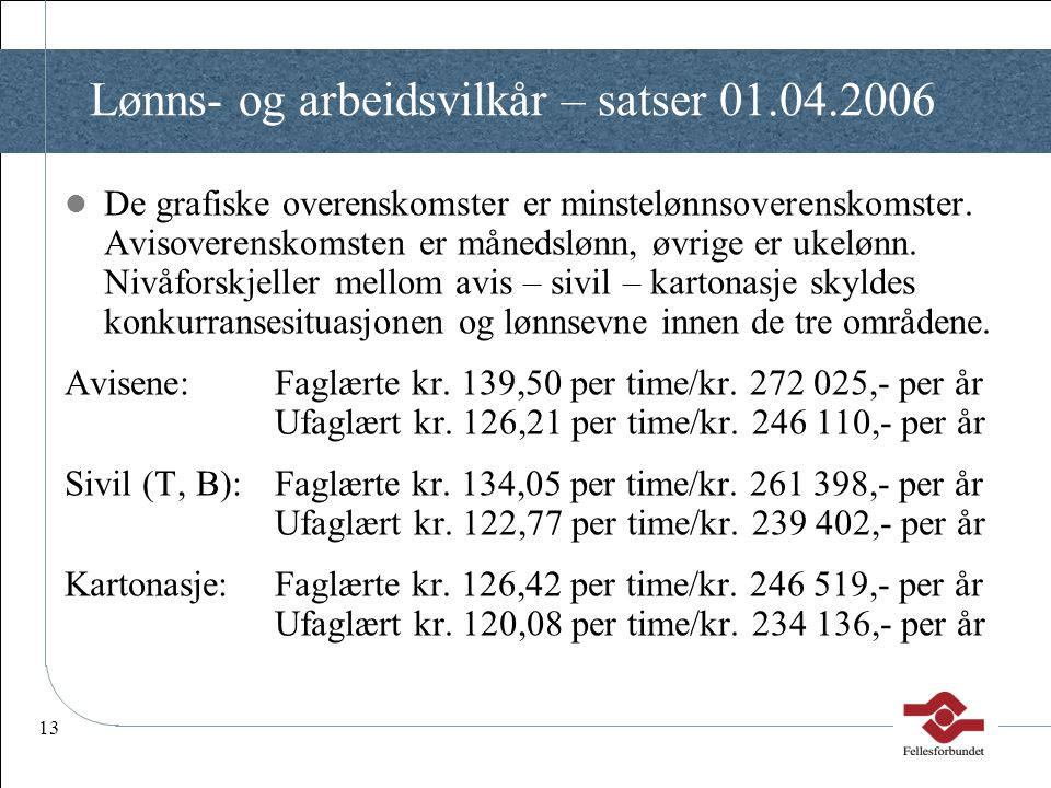 Lønns- og arbeidsvilkår – satser 01.04.2006