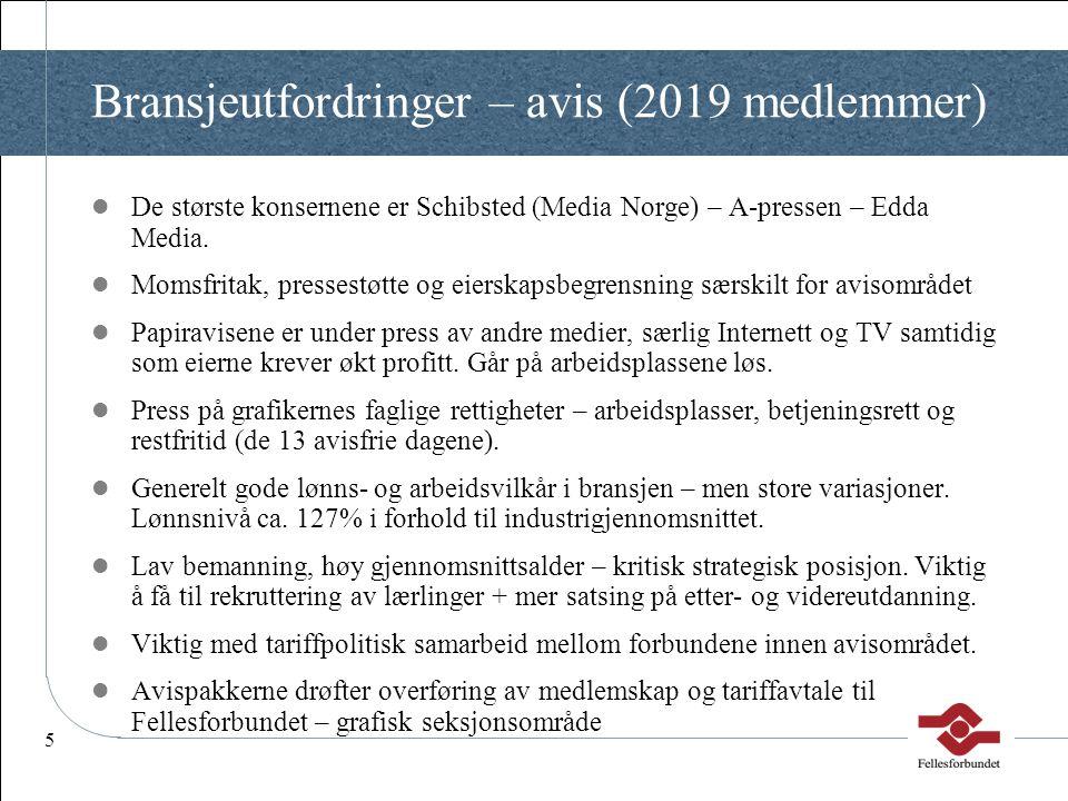 Bransjeutfordringer – avis (2019 medlemmer)
