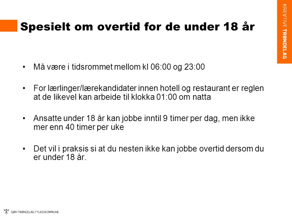 Spesielt om overtid for de under 18 år
