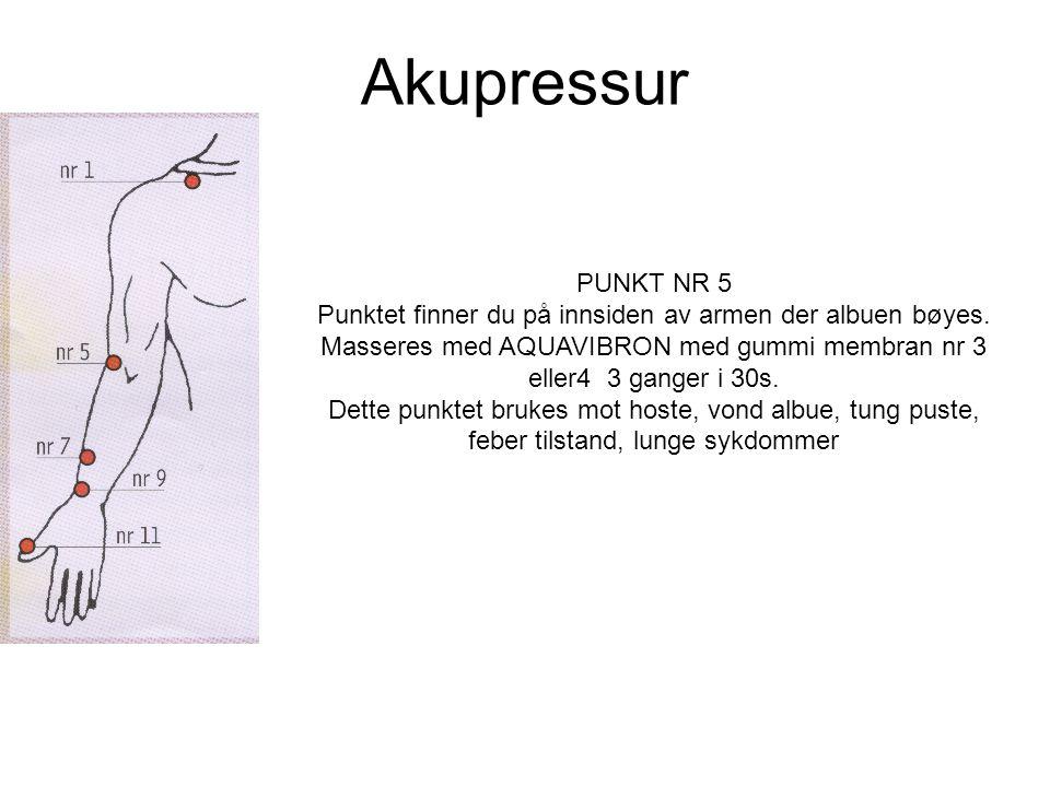 Akupressur PUNKT NR 5. Punktet finner du på innsiden av armen der albuen bøyes.