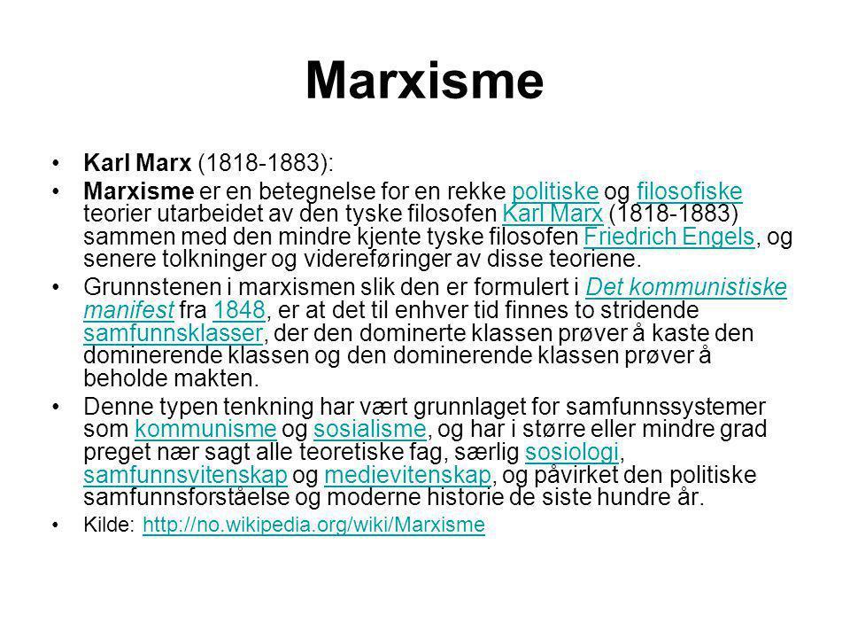 Marxisme Karl Marx (1818-1883):