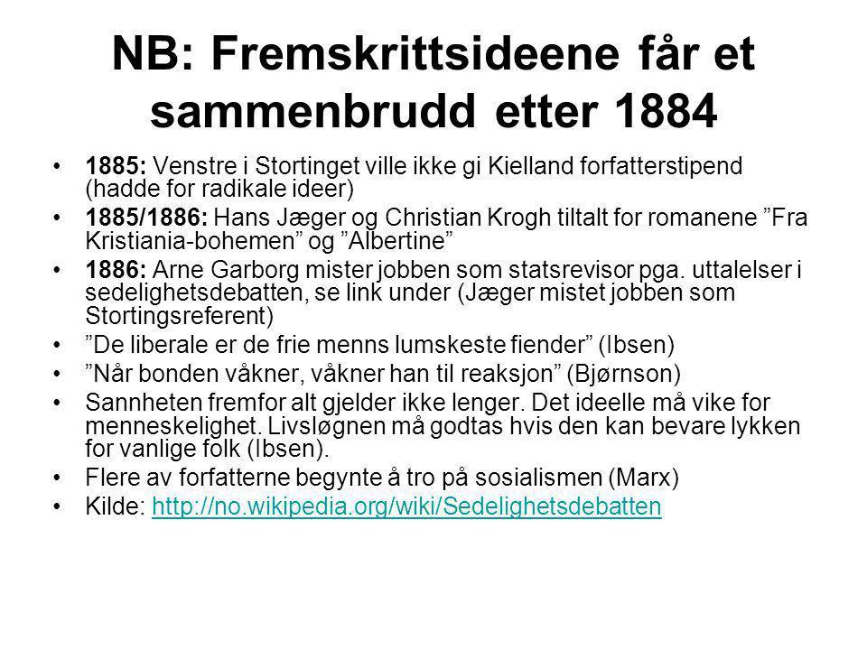 NB: Fremskrittsideene får et sammenbrudd etter 1884