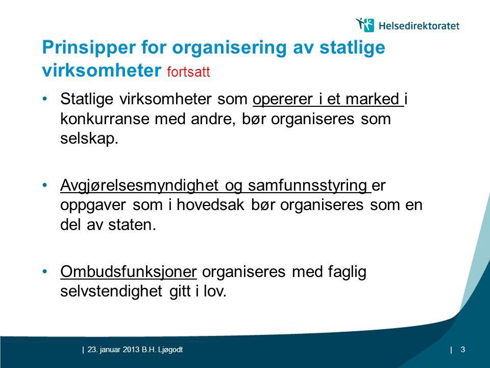 Prinsipper for organisering av statlige virksomheter fortsatt