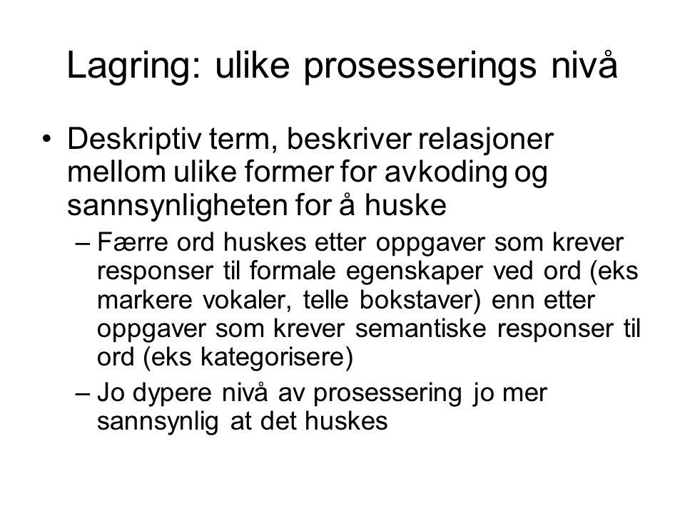 Lagring: ulike prosesserings nivå