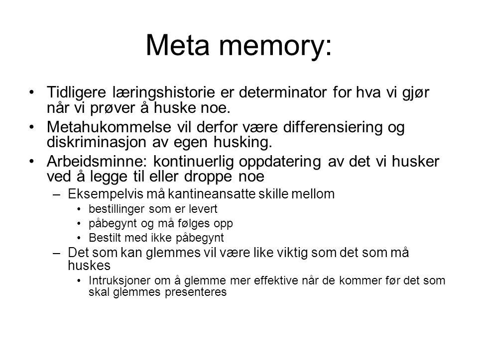 Meta memory: Tidligere læringshistorie er determinator for hva vi gjør når vi prøver å huske noe.
