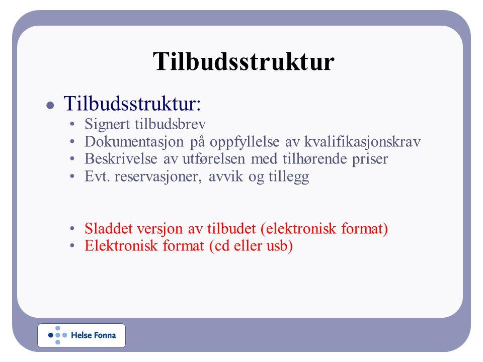 Tilbudsstruktur Tilbudsstruktur: Signert tilbudsbrev