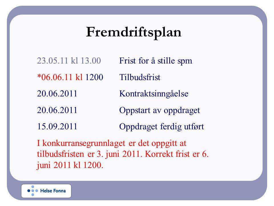 Fremdriftsplan 23.05.11 kl 13.00 Frist for å stille spm